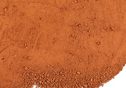 Red dirt (soil) background.  Red dry clay  surface. Ochre, also spelled ocher, a natural yellow earth pigment.