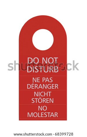 Red Do Not Disturb Door Handle Tag, Isolated, English, French, German, Spanish