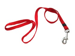 Red dog leash. Isolated on a white background