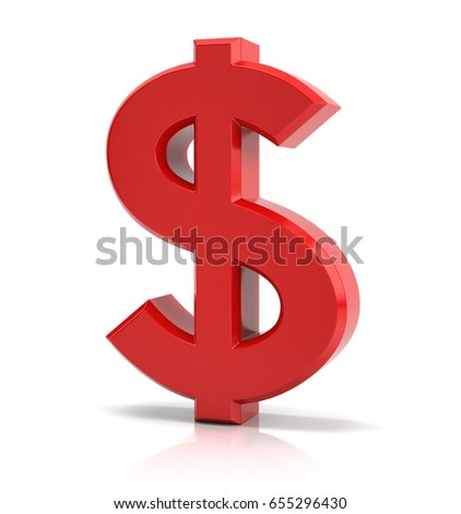 Red dollar sign 3d illustration
