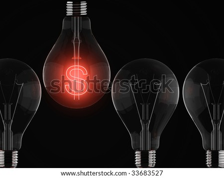 Red dollar sign illuminated in row of light bulbs against black background