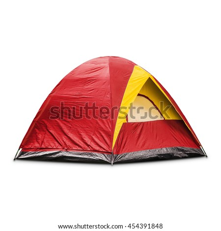 Red dome tent, isolated on white background with clipping path #454391848