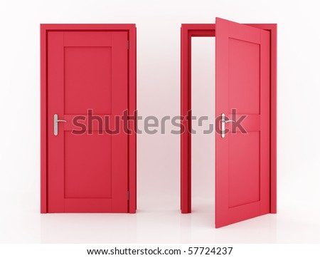 red door isolated  with clipping path -rendering