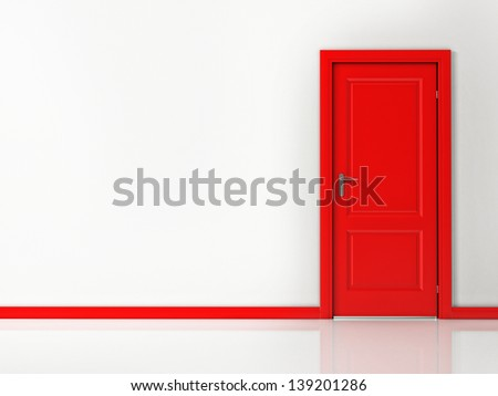 red door on white wall ...