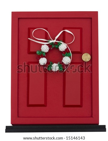 Red door with wreath isolated on a white background