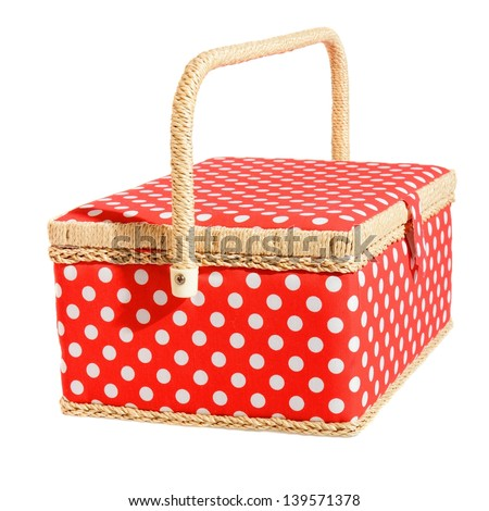 Red dotted basket. Isolated on white