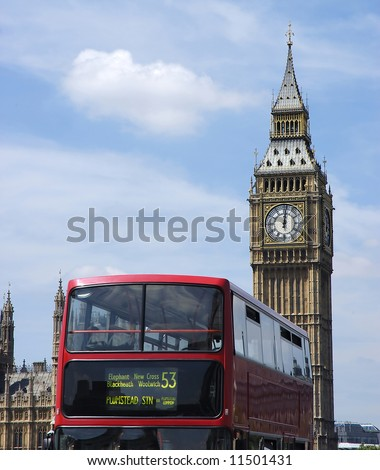 Red double decker bus in London at background the Big Ben - stock photo