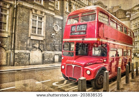Red double decker bus, vintage sepia texture, London UK