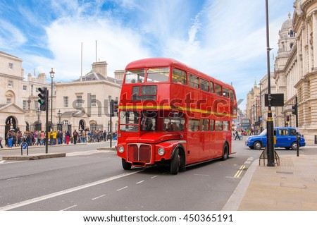 red double decker vintage bus...