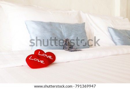 Red double heart On the bed Valentine day