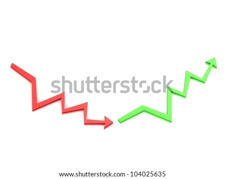 Red down arrow and green arrow upwards on white background