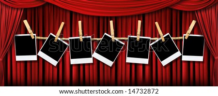 Red draped theater stage curtains with light and shadows with blank instant photos