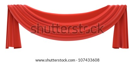 Red drapery isolated on white. 3d illustration.