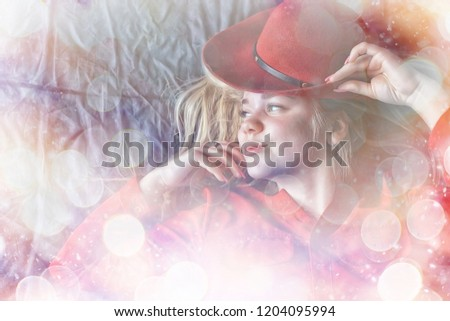 red dress hat blond / glamorous model in bright sexy clothes with red hat #1204095994