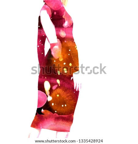 Red dress, watercolor dress, abstract dress