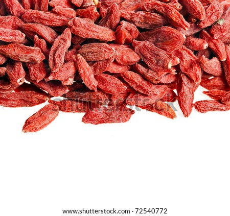 red dried goji berries ,wolfberry on white