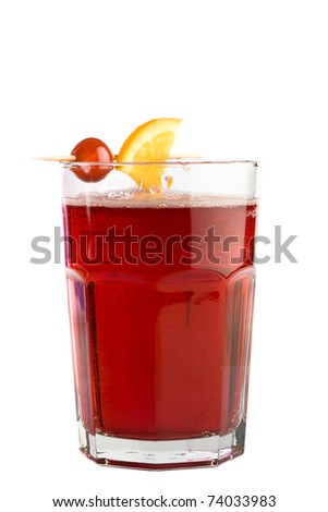 Red drink in lowball glass isolated on white background