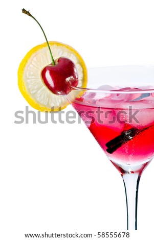 Red drink in martini glass, garnished with marachino cherry. Isolated on white background.