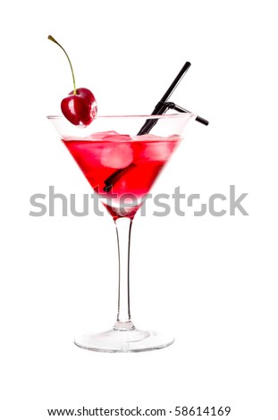 Red drink in martini glass, garnished with maraschino cherry. Isolated on white background.
