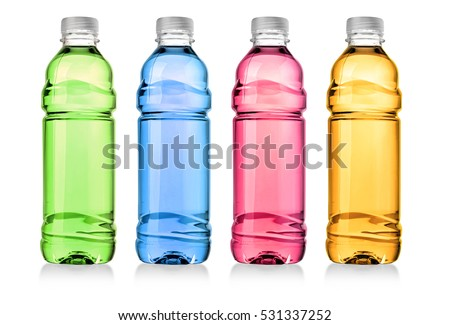 Red drink in plastic bottle on white background. with clipping path