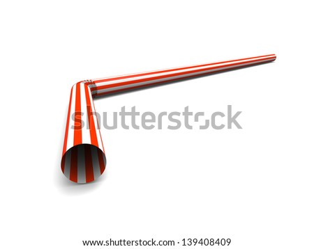 Red drinking straw isolated on white background