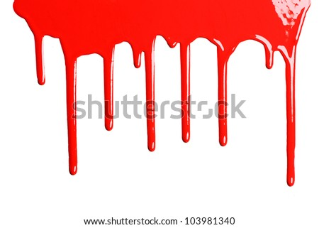 Red dripping paint against a white background