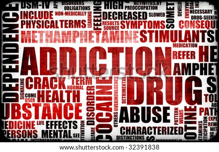 stock photo : Red Drug Addiction Dangers Grunge Warning Concept