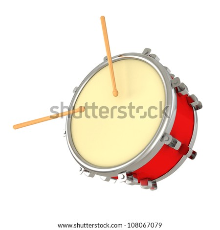 red drum and drumsticks on white background