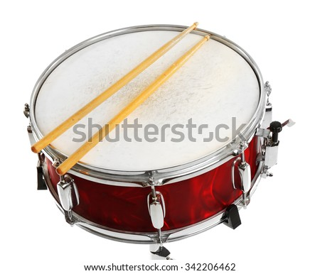 Photo of  Red drum with drum sticks isolated on white background