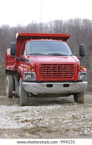 Red Dump Truck - stock photo