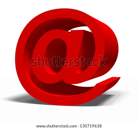 red e-mail symbol on a white background - stock photo
