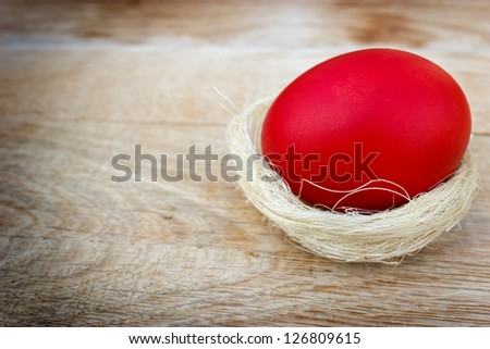 Red Easter Egg on the table