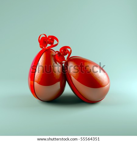 red easter eggs - stock photo