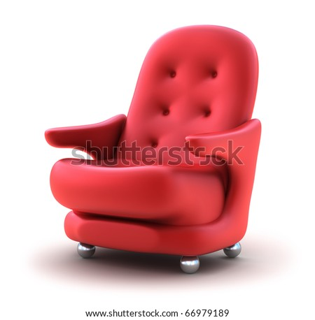 Red Easy chair, isolated on white.