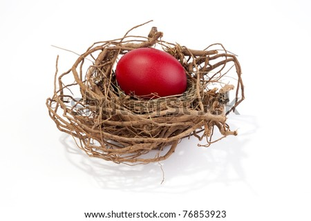 Red egg in nest isolated on white