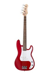 Red electric bass guitar isolated on white background