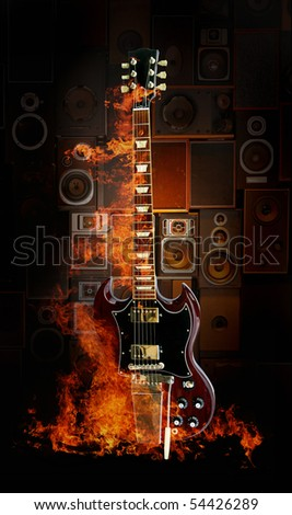 red electric guitar on fire - stock photo