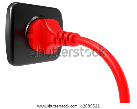 red electric plug and power outlet isolated on white background