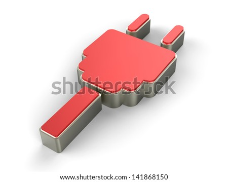 red electric plug icon 3D