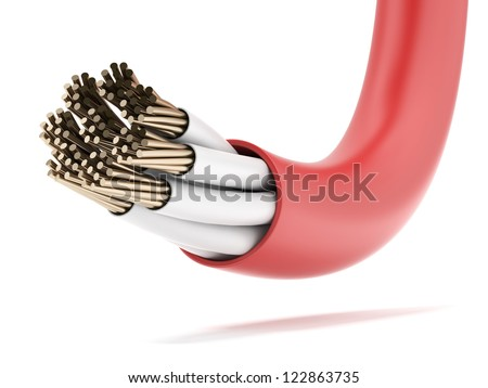 Red Electrical Cable isolated on a white background