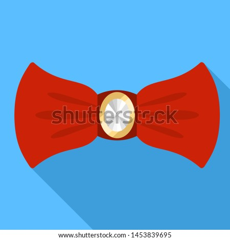 Red elegant bow tie icon. Flat illustration of red elegant bow tie icon for web design