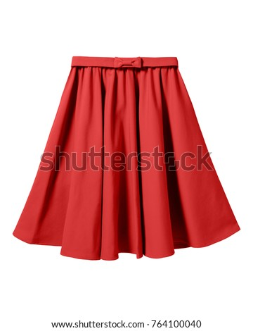 Red elegant skirt with ribbon bow isolated on white - Shutterstock ID 764100040