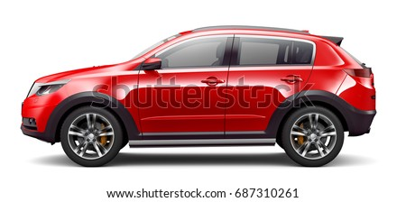 Red elegant unbranded car - side view (3D render)