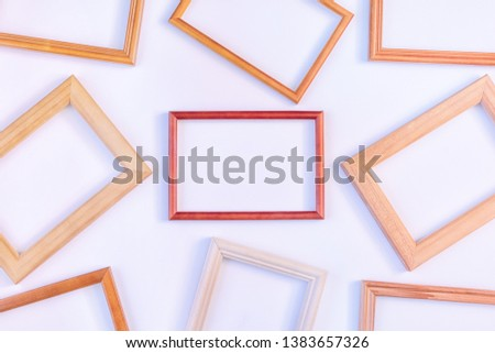 Red empty frames laid out on a white background. Layout for the layout. Photo with space for text and images. #1383657326