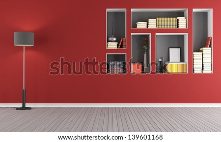 Red empty  living room with  niches used as a bookcase - rendering