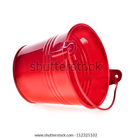 Red  empty pail , red bucket isolated on white background