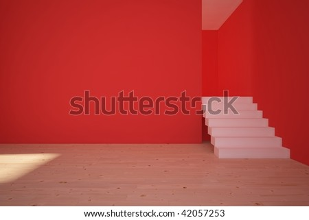 red empty room with white stair