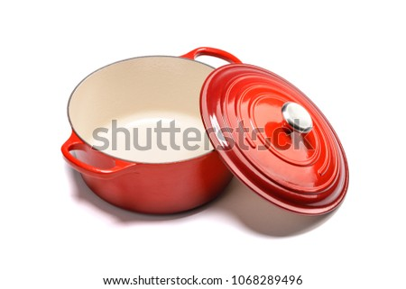 Red enamel cast iron cookware #1068289496