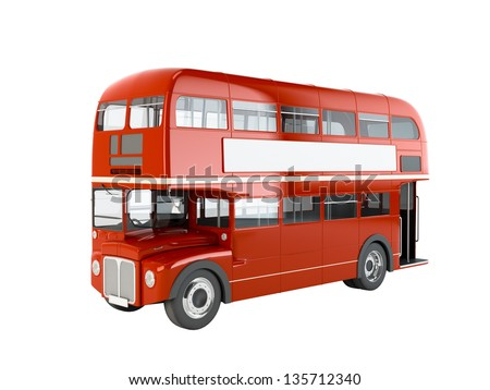 Red English bus isolated on white background