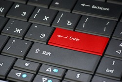 Red enter button on keyboard. Element of design.
